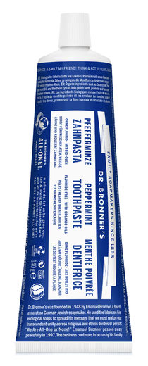 DR. BRONNER'S ALL-ONE PEPPERMINT TOOTHPASTE - LUOMU PIPARMINTTU HAMMASTAHNA